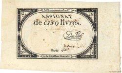5 Livres vérificateur FRANCE  1793 Ass.46b SUP