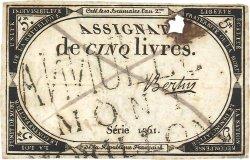 5 Livres FRANCE  1793 Ass.46var TB+