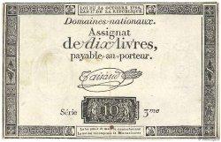 10 Livres filigrane royal FRANCE  1792 Ass.36a TTB