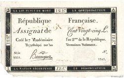 125 Livres vérificateur FRANCE  1793 Ass.44b SUP+