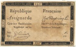 125 Livres FRANCE  1793 Ass.44c TB