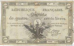 400 Livres FRANCE  1792 Ass.38d TB+