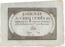 500 Livres FRANCE  1794 Ass.47a NEUF
