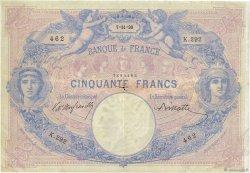 50 Francs BLEU ET ROSE FRANCE  1890 F.14.02 TB