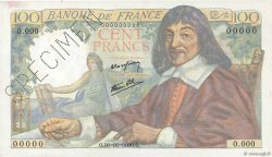 100 Francs DESCARTES FRANCE  1942 F.27.00 SPL