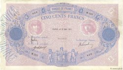 500 Francs BLEU ET ROSE FRANCE  1911 F.30.19 F+