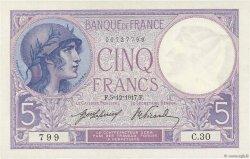 5 Francs VIOLET FRANCE  1917 F.03.01 SPL