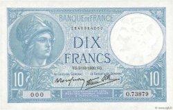 10 Francs MINERVE modifié FRANCE  1939 F.07.10 pr.SPL