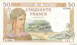 50 Francs CÉRÈS FRANCE  1937 F.17.36 pr.SPL
