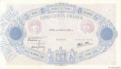 500 Francs BLEU ET ROSE modifié FRANCE  1939 F.31.25 pr.SUP