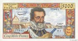 5000 Francs HENRI IV FRANCE  1957 F.49.01 pr.NEUF