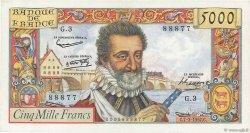5000 Francs HENRI IV FRANCE  1957 F.49.01 SUP+