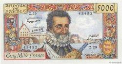5000 Francs HENRI IV FRANCE  1957 F.49.04 SUP