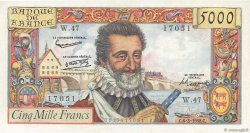 5000 Francs HENRI IV FRANCE  1958 F.49.06 SUP+