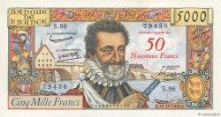 50 NF sur 5000 Francs HENRI IV FRANCE  1958 F.54.01 SPL+