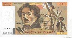 100 Francs DELACROIX modifié FRANCE  1980 F.69.04 SUP+