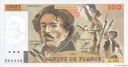 100 Francs DELACROIX imprimé en continu FRANCE  1991 F.69bis.03b1 pr.NEUF
