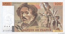 100 Francs DELACROIX imprimé en continu FRANCE  1991 F.69bis.04a pr.NEUF