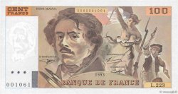 100 Francs DELACROIX UNIFACE FRANCE  1995 F.69U.07 SPL