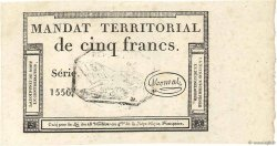 5 Francs Monval cachet noir  FRANCE  1796 Ass.63b SPL