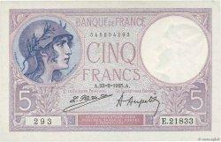 5 Francs VIOLET FRANCE  1925 F.03.09 SPL+