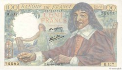 100 Francs DESCARTES FRANCE  1944 F.27.08 NEUF