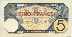 5 Francs DAKAR AFRIQUE OCCIDENTALE FRANÇAISE (1895-1958)  1922 P.05Bb SPL