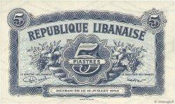 5 Piastres LIBAN  1942 P.34 NEUF