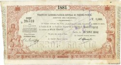 1000 Francs type 5 MARTINIQUE  1881 Kol.44 TTB+