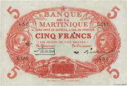 5 Francs Cabasson rouge MARTINIQUE  1929 P.06A TTB+