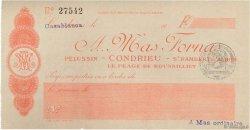 Francs FRANCE régionalisme et divers CONDRIEU 1915 DOC.Chèque SUP