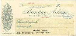 Francs FRANCE régionalisme et divers CASTRES 1915 DOC.Chèque SUP