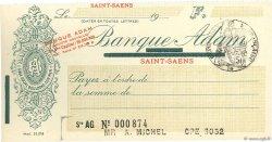 Francs FRANCE régionalisme et divers SAINT-SAENS 1933 DOC.Chèque NEUF