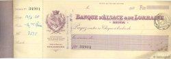 Francs FRANCE régionalisme et divers Metz 1927 DOC.Chèque TB