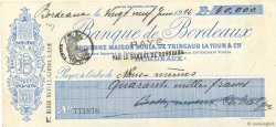 40000 Francs FRANCE régionalisme et divers BORDEAUX 1914 DOC.Chèque SUP