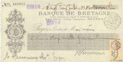 10000,50 Francs FRANCE régionalisme et divers DINAN 1933 DOC.Chèque SUP