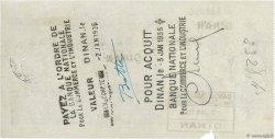 2098 Francs FRANCE régionalisme et divers Dinan 1934 DOC.Chèque TTB