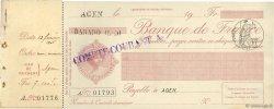 Francs FRANCE régionalisme et divers AGEN 1906 DOC.Chèque SPL