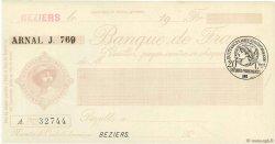 Francs FRANCE régionalisme et divers BEZIERS 1915 DOC.Chèque SUP