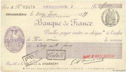 5000 Francs FRANCE régionalisme et divers Chambéry 1899 DOC.Chèque SUP