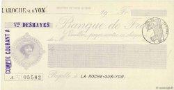 Francs FRANCE régionalisme et divers La Roche-Sur-Yon 1871 DOC.Chèque SPL