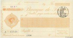 Francs FRANCE régionalisme et divers Lyon 1871 DOC.Chèque SPL