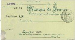 Francs FRANCE régionalisme et divers LYON 1924 DOC.Chèque SPL
