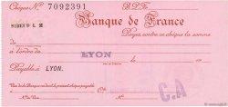 Francs FRANCE régionalisme et divers LYON 1932 DOC.Chèque NEUF