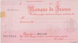 Francs FRANCE régionalisme et divers Moulins 1933 DOC.Chèque SUP