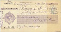 200 Francs FRANCE régionalisme et divers Thonon 1909 DOC.Chèque SPL