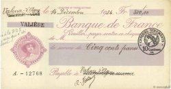 500 Francs FRANCE régionalisme et divers VILLEFRANCHE-DE-ROUERGUE 1934 DOC.Chèque SUP