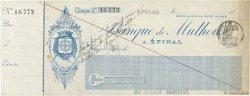 Francs FRANCE régionalisme et divers Épinal 1896 DOC.Chèque SUP
