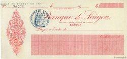 Dollars FRANCE régionalisme et divers SAÏGON (VIET NAM) 1926 DOC.Chèque SUP