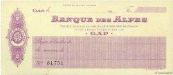 Francs FRANCE régionalisme et divers GAP 1910 DOC.Chèque SPL